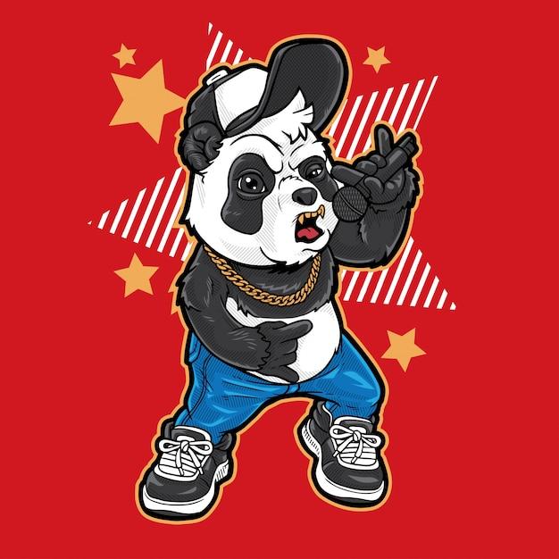 Panda urban rocker Premium Vector