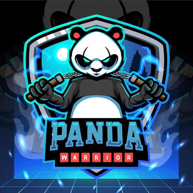 Талисман воина панды. киберспорт дизайн логотипа Premium векторы