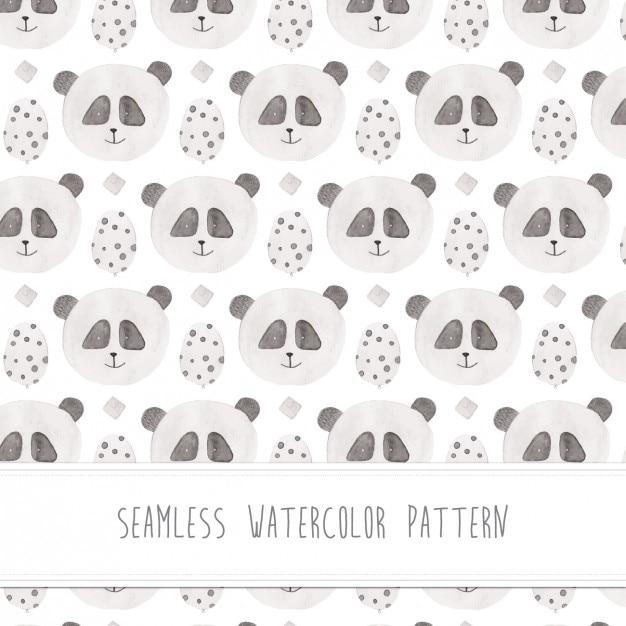 Panda watercolor pattern Free Vector