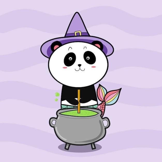 Panda ведьма готовит зелье для хэллоуина Premium векторы