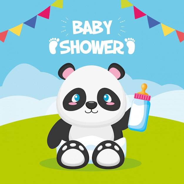 Panda with bottle for baby shower card Free Vector