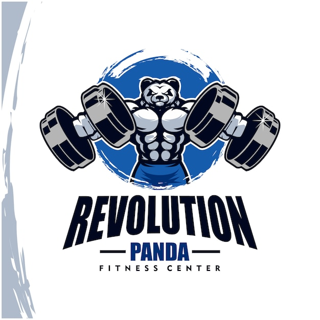 Panda with strong body, fitness club or gym logo. Premium Vector