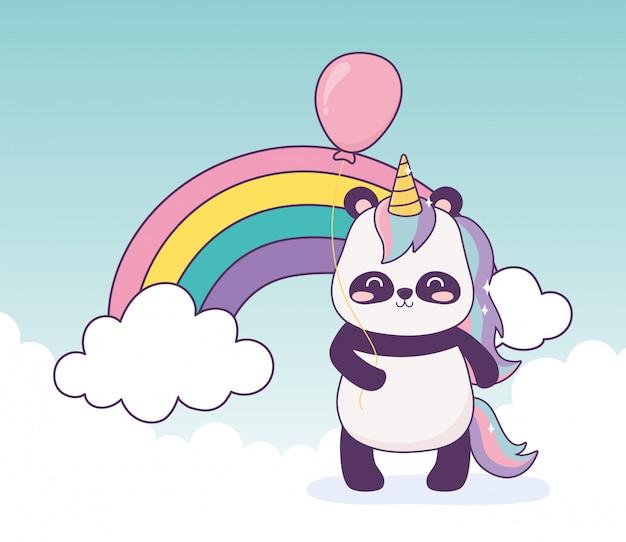 ユニコーンとバルーンの虹の装飾漫画のパンダ Premiumベクター