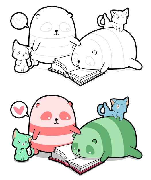 Pandas and cats character are reading a book cartoon coloring page for kids Premium Vector