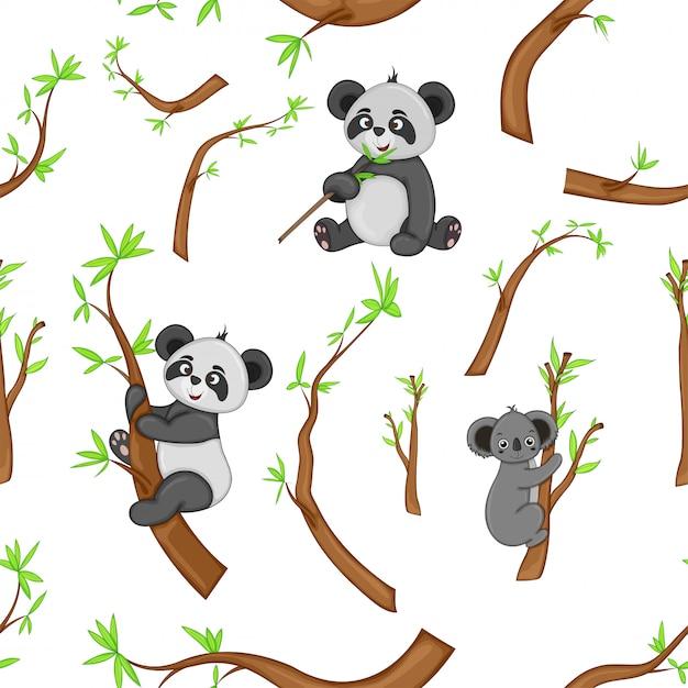 Pandas pattern Premium Vector