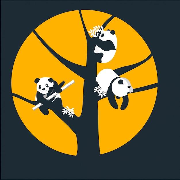 Pandas on a tree Premium Vector