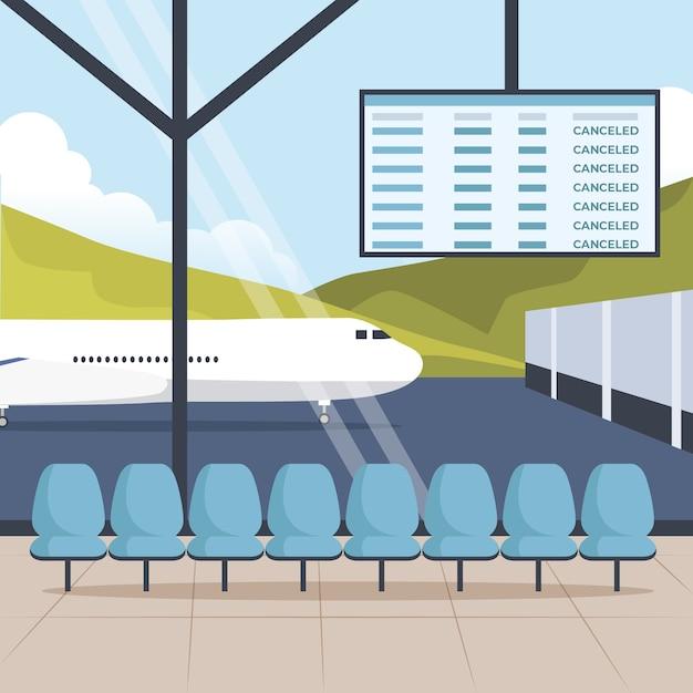 Пандемическая концепция закрытого аэропорта Бесплатные векторы