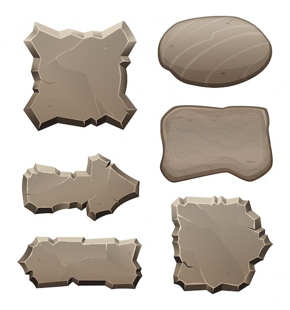 Panels from stones and rocks Premium Vector