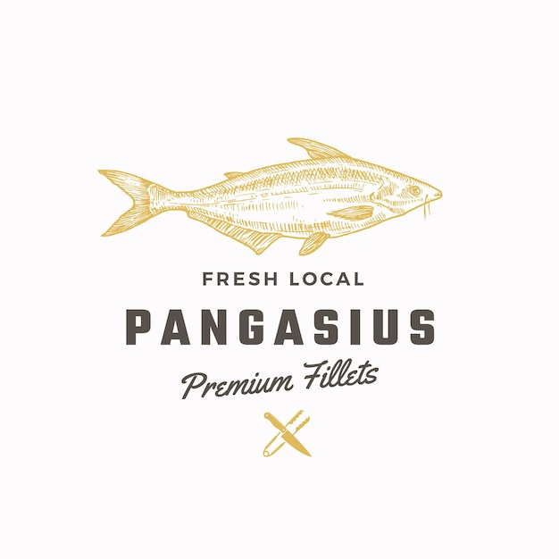 Pangasius abstract vector sign, symbol or logo template Free Vector
