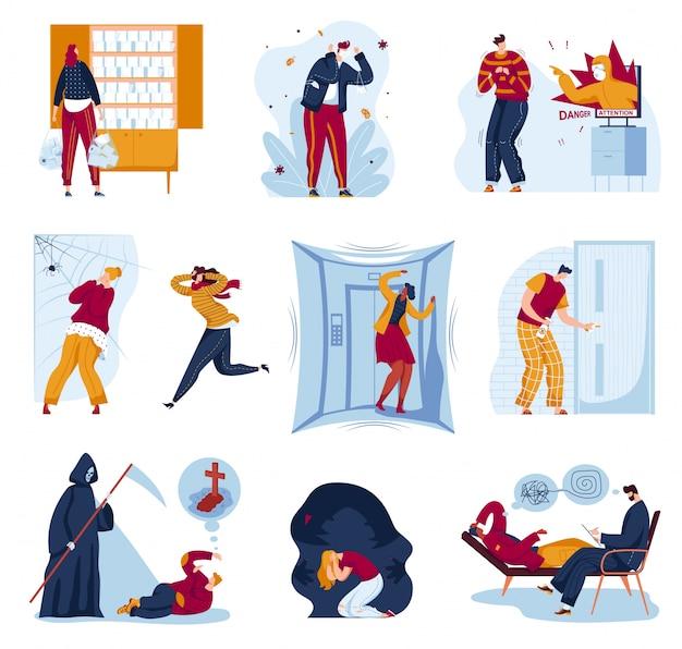 人のイラストセットでパニック恐怖、パニック発作、パニック、実行でクモを恐れて漫画の男性女性キャラクター Premiumベクター