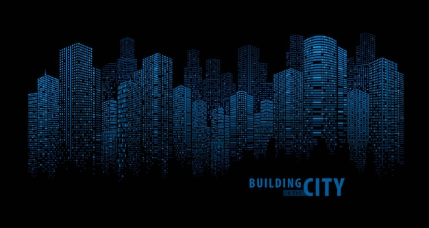 Pano building abstract blue Premium Vector