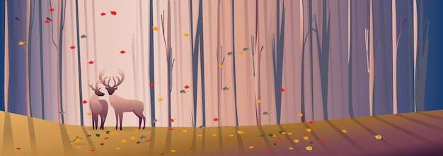 Panorama background with deciduous forest landscape in autumn Premium Vector