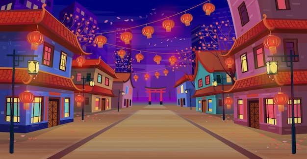 Panorama chinese street with chinese zodiac sign year of red rat,  houses, chinese arch, lanterns and a garland at night. vector illustration of city street in cartoon style. Premium Vector