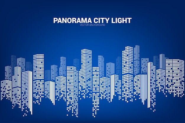 Panorama city building background with windows pixel shape ...
