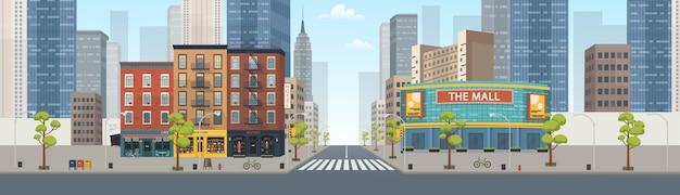 상점이있는 파노라마 시티 빌딩 주택 : 부티크, 카페, 서점, 쇼핑몰. 스타일 그림입니다. 프리미엄 벡터