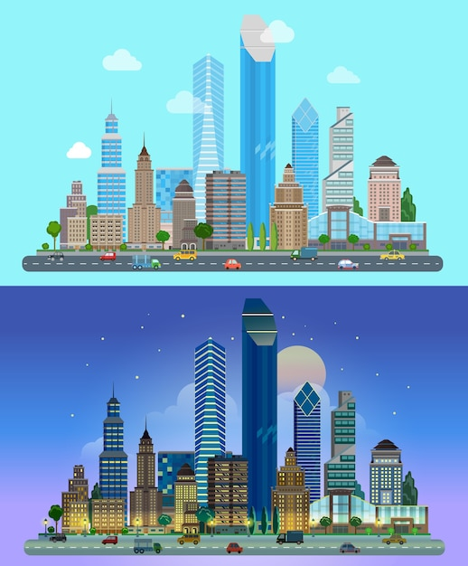 Panorama of the city skyscrapers the sky in the background day night Free Vector