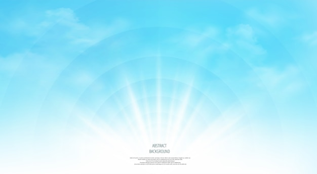 Panorama of clear blue sky with clouds background. Premium Vector
