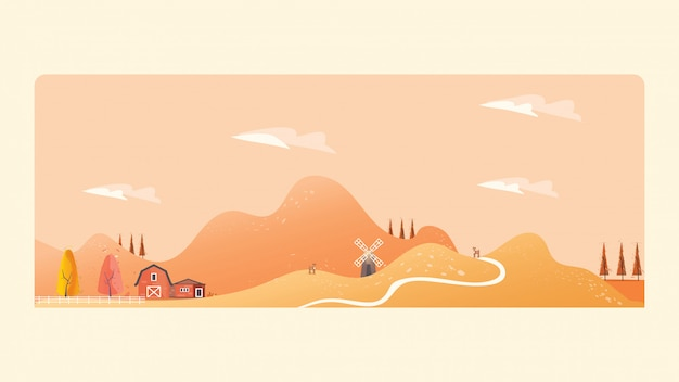 Panorama illustration of countryside landscape in autumn.the yellow foliage mountains or hil Premium Vector