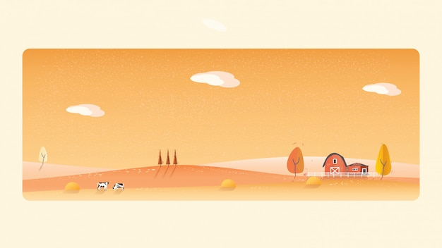 Panorama illustration of countryside landscape in autumn,.the yellow foliage mountains or hill Premium Vector
