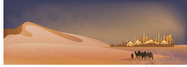Panorama landscape of arabian journey with camels through the desert with mosque, sand dune and dust Premium Vector