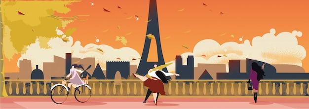 Panorama landscape of paris france in mid autumn or fall. Premium Vector