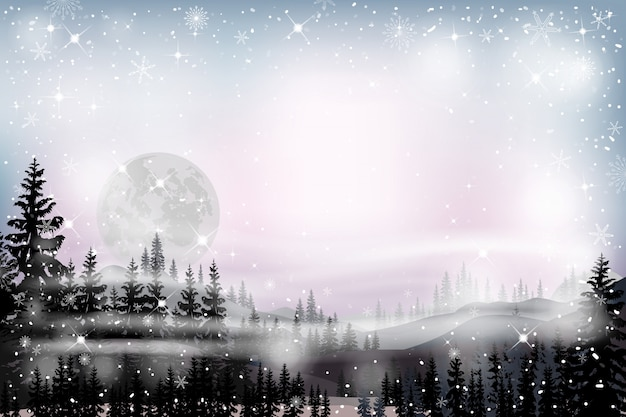 Panorama landscape of starry night with full behind mountain and pine trees Premium Vector