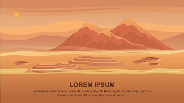 Panorama mountain landscape red planet surface. Premium Vector