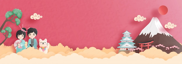 Panorama postcard and travel poster of world famous landmarks of japan with fuji mountain Premium Vector