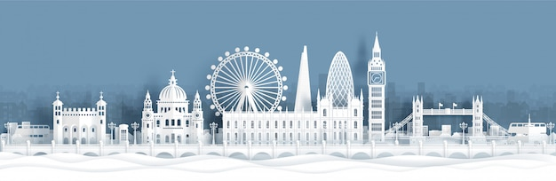 Panorama postcard and travel poster of world famous landmarks of london, england Premium Vector
