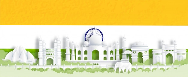 Panorama postcard of world famous landmarks of india with india flag, green and orange Premium Vector