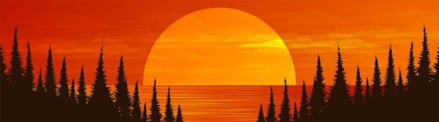 松林、風景の背景に川とパノラマ太陽。 Premiumベクター