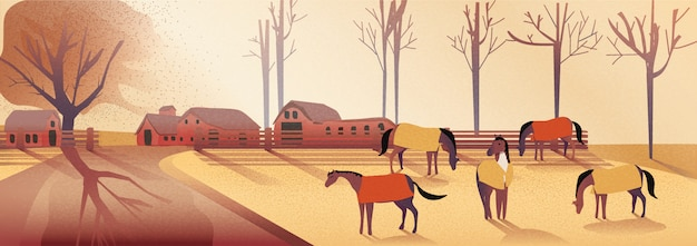 Panorama vector illustration of countryside landscape in autumn.horses farm in falls.yellow foliage mountain or hill with horses in the fog with light and shadow image with noise and grain. Premium Vector