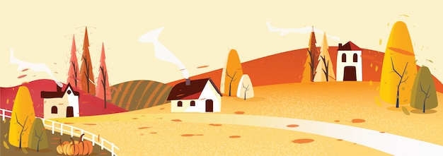 Panorama vector illustration of countryside landscape in autumn Premium Vector