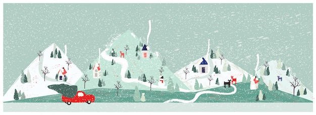 Panorama vector illustration of urban city landscape in winter with pick up truck carrying christmas tree. minimal xmas winter landscape. Premium Vector