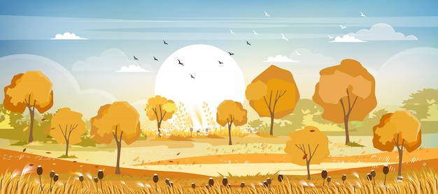 Panorama view of countryside landscape in autumn Premium Vector