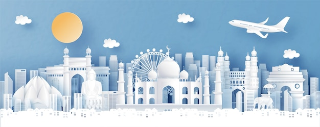 Panorama view of india and city skyline with world famous landmarks Premium Vector