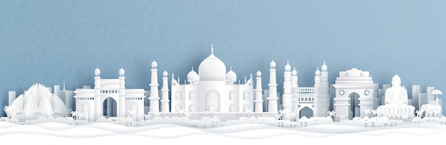 Panorama view of india with taj mahal and skyline with world famous landmarks Premium Vector