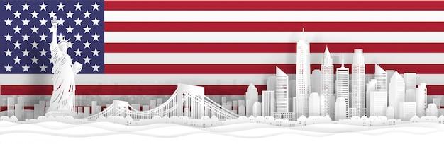 Panorama view of new york city, united states of america skyline Premium Vector
