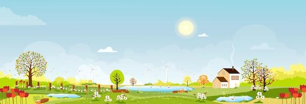 봄 마을, 언덕, 푸른 하늘과 태양, 벡터 만화에 녹색 초원의 파노라마보기 봄 또는 여름 풍경, 연못에서 수영하는 가족 오리와 농지의 파노라마 시골 풍경. 프리미엄 벡터
