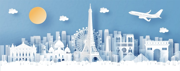 Panorama view of paris, france and city skyline with world famous landmarks Premium Vector