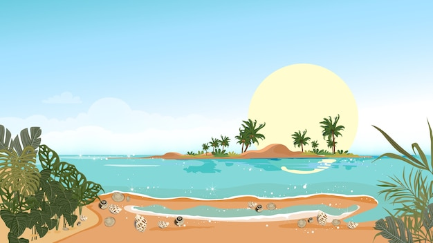 Panorama view tropical seascape of blue ocean and coconut palm tree on island, panoramic sea beach and sand with blue sky,vector illustration flat style nature of landscape seaside for summer holiday Premium Vector