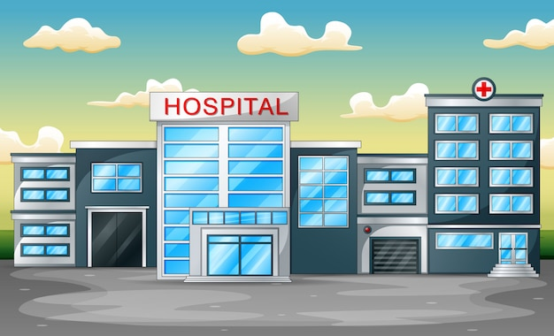 Panoramic background with hospital building front view Premium Vector