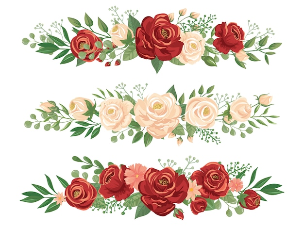 Panoramic flowers borders. rose bud, flower border and roses header panorama floral banner vector illustration Premium Vector