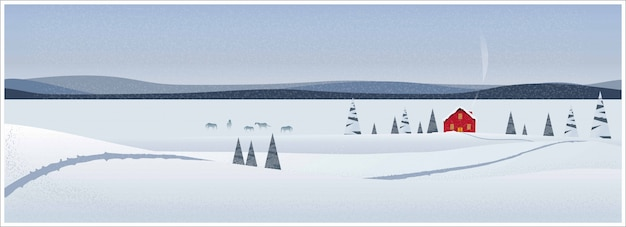 Panoramic  illustration of winter landscape.the minimal image of red barn in a farm with horses snow fir over the scene Premium Vector