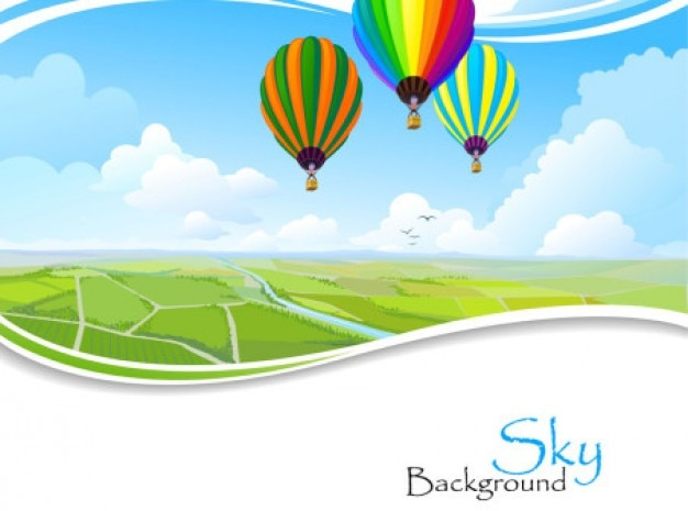 Panoramic landscape with air baloons\ background