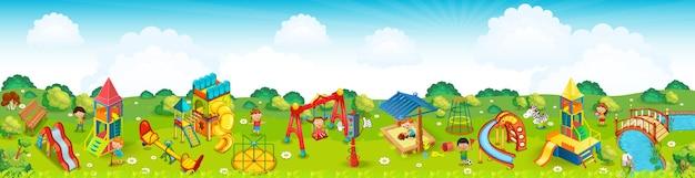 牧草地のパノラマの遊び場。 。 Premiumベクター