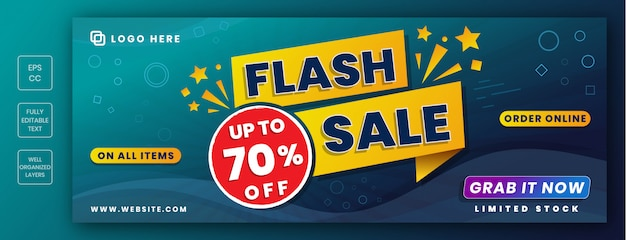 Panoramic sale banner with flash sale. facebook cover size, header Premium Vector