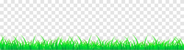 Panoramic seamless green grass. vector cartoon illustration for footer and design isolated. Premium Vector