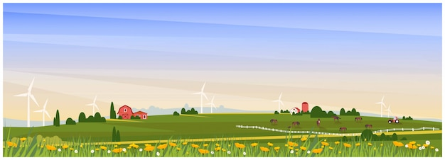 Panoramic vector illustration of rural countryside with farmhouse,horse ranch and wind turbine in sp