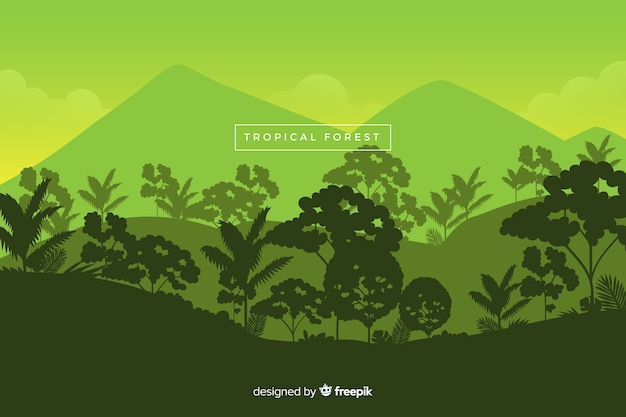 Panoramic view of beautiful tropical forest in green shades Free Vector